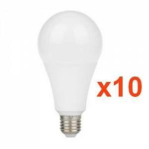 Silamp Ampoule LED E27 9W A60 220V 230 (Pack de 10) - couleur eclairage : Blanc Chaud 2300K - 3500K