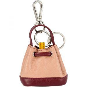 Dudu Porte-clés Porte-monnaie à Sac seau en Cuir coloré avec Coulisse 2 anneaux et Crochet pour les clés Burgundy
