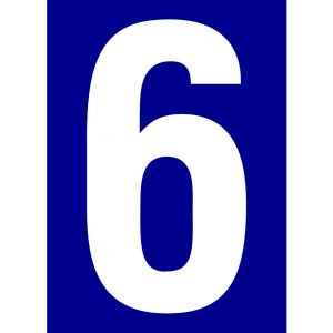 Novap 4004068 Numéro de rue pré adhésif Chiffre 6, Bleu
