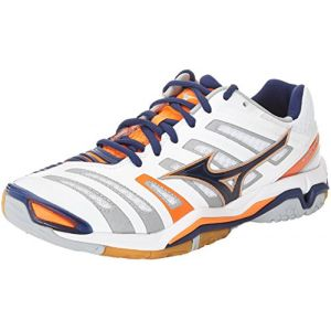 Mizuno Wave Stealth, Chaussures de Handball Américain Homme, Multicolore (White/Bluedepths/Orangeclownfish), 46.5 EU