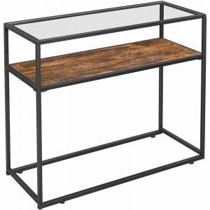 Songmics VASAGLE Table console - Table d'entrée - 100x80x40 cm - verre trempé - cadre en acier - style industriel Marron et Noir LNT10BX