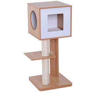 3a90a5f55e0 Pawhut Arbre à Chats Design Contemporain griffoir grattoir sisal Naturel  Niche Plate-Forme Jeu Boule