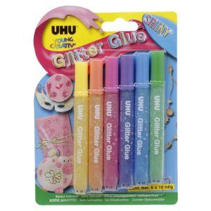 UHU Colle créative 6x10ml : Young créativ' glitter glue original et shiny