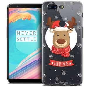CaseInk Coque OnePlus 5T (6 ) Extra Fine Noël 2017 Cerf à Echarpe