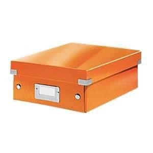Leitz 6057-00-44 - Boîte de rangement Click & Store, petit format avec compartiments, en PP, coloris orange métallique