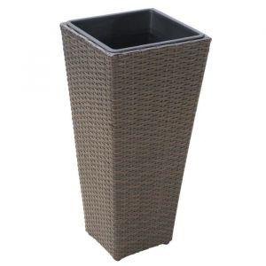 Pot de Fleurs en résine tressée - 28x28x60cm - Noir - En résine tressée poly rotin - Dimensions : 28x28x60cm - Coloris : noir.