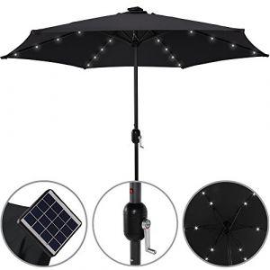 Deuba Parasol en aluminium 24 LED solaire Ø 270 cm – Manivelle Parasol Parasol Parasol déporté anthracite