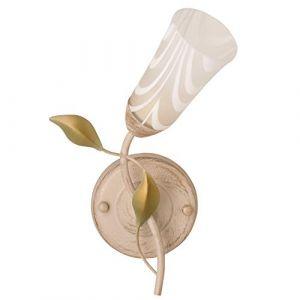 MW-Light DeMarkt 242025701 Applique Murale Intérieure Design Floral en Métal couleur Crème Dorée Abat-jour en Verre Mat décorée de Feuilles pour Chambre à Coucher 1x60W E14