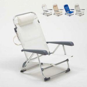 Beach and Garden Design Chaise transat de plage pliante avec accoudoirs mer aluminium GARGANO | Blanc