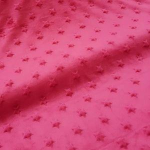 Craftine Tissu Minky Ultra doux Etoiles Magenta