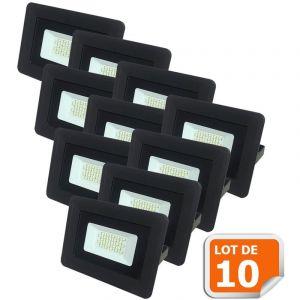 Lampesecoenergie Lot de 10 LED Projecteur Lampe 20W Noir 6000K IP65 Extra Plat