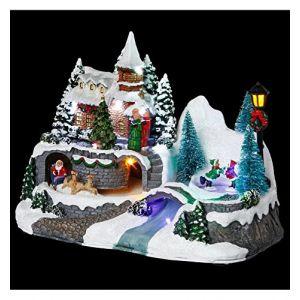 Village de Noël modèle église animé et lumineux