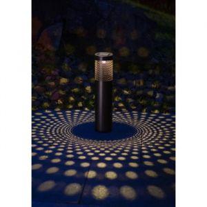 Galix Borne à énergie solaire cylindrique - 10 Lm - H 53,5-38,5 x Ø 8,7 cm - Métal - 0,28 W - Nombre de Lumens : 10 - Durée maximum d'éclairage : 8 h - Interrupteur On/Off
