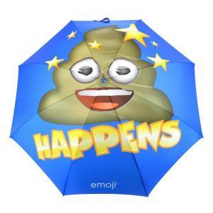 Parapluie Emoji Bleu - Parapluie long Emoji caca bleu, marron et jaune - Poignée en caoutchouc antidérapant avec housse de rangement - 8 baleines - 152 cm.