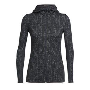 Icebreaker Women´s Away L/S Zip Hood Showers - Veste en laine taille XS, noir