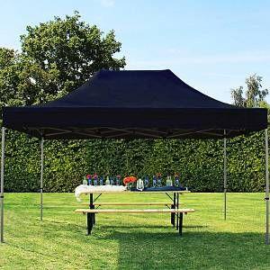Intent24 Tente pliante tente pliable 3x4,5m - sans panneau de côté PROFESSIONAL toit 100% imperméable tente de jardin pavillon noir.FR