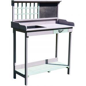 Outsunny Table de rempotage jardinage multi-équipée tiroir, étagère, évier dim. 92L x 43l x 120H cm bois massif pin pré-huilé gris vert menthe