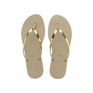 Havaianas You Metallic, Sandales Bout Ouvert Femme, Or (Sand Gris/Light Golden 2719), 35/36 EU (33/34 Brazillian)