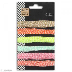 Toga Assortiment de 6 ficelle bicolores - Nuances pastel