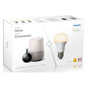 "Google Pack Fnac ""Home + Chromecast + Kit Philips Hue White 3 ampoules"""