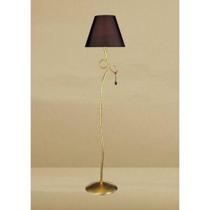 Diyas Lampadaire Paola 1 Ampoule E27, doré peint avec Abat jour noir & verre ambré goutelettes