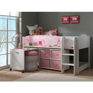 Swithome Lit mezzanine Princesse Lollipop avec un bureau et une bibliotheque composée de 4 paniers (90 x 200 cm)