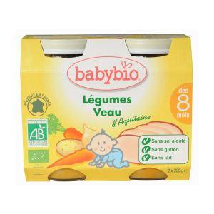 BabyBio Menu du Jour : Légumes et Veau Fermier d'Aquitaine 2 x 200g - dès 8 mois