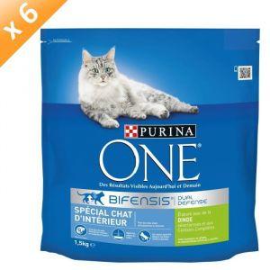 Purina One - Croquettes spéciales chat d'intérieur dinde / riz (6 sachets de 1.5 kg)
