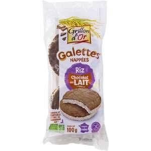 Grillon d'Or Galettes de riz nappées de chocolat au lait bio 100 g