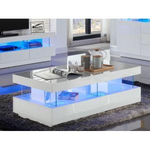 a6e3c72981016f Table basse FABIO - MDF laqué blanc - LEDs - 2 tiroirs ...