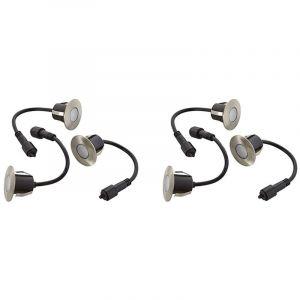 Easy Connect Pack 2 Lots 3 Mini Spots encastrables rond 6cm Inox Mini DECK Light 1.2W par spotW LED integrés IP67 Bleu extérieur