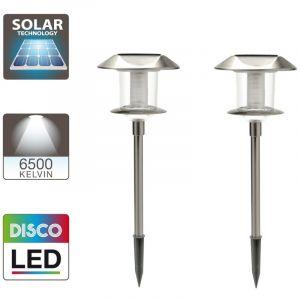 Xanlite 2 bornes solaires disco extérieure gris LED h.50 cm