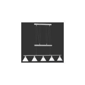 Suspension longue 5 ampoules en nickel et verre (102 cm)