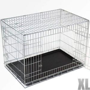 Cage pour chien 2 portes pliable en métal et transportable avec poignées 105,5/68/76 cm
