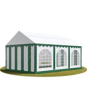 Intent24 TOOLPORT Tente Barnum de Réception 4x6 m PREMIUM Bâches Amovibles PVC 500 g/m² vert-blanc + Cadre de Sol Jardin.FR