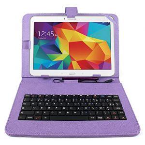 """Duragadget Etui et clavier AZERTY pour tablettes Galaxy Tab 4 10.1"""" SM-T530 et SM-T533 (Wi-FI 2015)"""