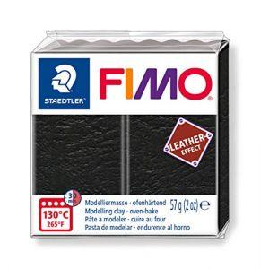Fimo Pâte à modeler polymère Effect Cuir 57 g 909 Noir