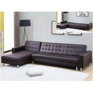 Canapé d'angle convertible et réversible en simili WILLIS - Chocolat