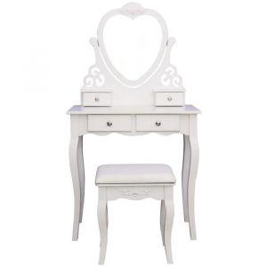 Coiffeuse classique en bois paulownia blanc - L 75 cm - Bois paulownia blanc - L 75 x P 40 x H 138 cm - 1 miroir et 4 tiroirs - 1 tabouret blanc