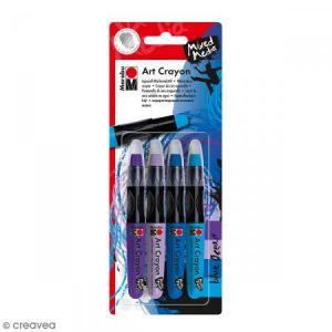 Marabu Crayon cire aquarelle - Art Crayon - Bleu ocean - 4 pcs