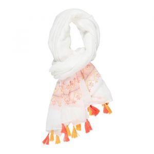 Deeluxe Cheche Blanc en Tissu Avec Pompons