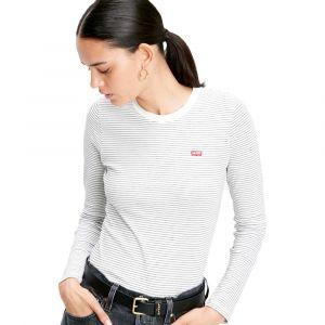 Levi's Ls Baby Tee T-Shirt Femme - Multicolore (Agnes Stripe Cloud Dancer 0010) - Medium (Taille Fabricant: M)
