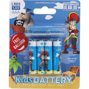 Kidsbattery Lot de 4 piles AAA (LR03) alkaline pirates