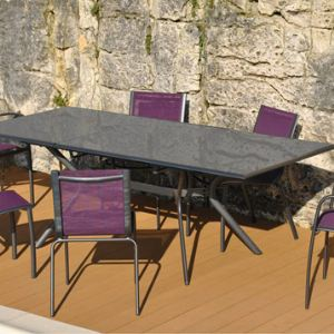 Proloisirs Malaga - Table de jardin rectangulaire extensible en aluminium 180/240 x 100 x 74 cm