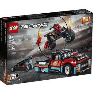 Lego Technic - Le spectacle de cascades du camion et de la moto, Jeu de Construction Jeu Garçon et Fille 8 Ans Et Plus, 610 Pièces - 42106