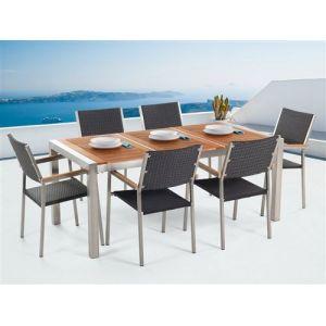 Beliani Ensemble de jardin table 180 cm et 6 chaises en rotin Grosseto