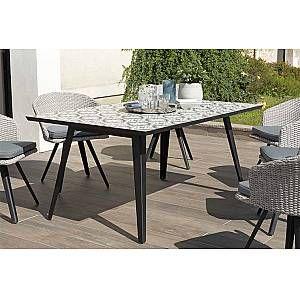 Table à manger rectangulaire Plateau carreaux de ciment 162 x 102 cm Marron