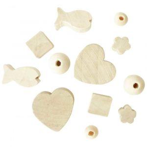 PW International Sachet de 300 perles en bois brut à décorer, formes assorties, 50 x 6 modèles