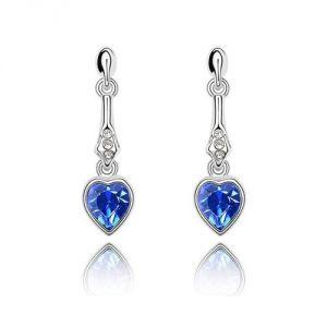 Blue Pearls Cry A324 G - Boucles d'oreilles pendantes et Coeur en Cristal de Swarovski
