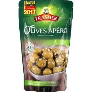Tramier Olives apéro à l'ail - Le sachet de 150 g net égoutté